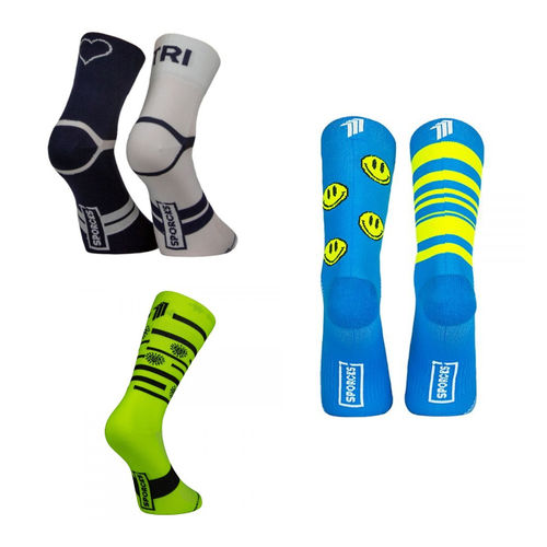 Pack Meias Sporcks Tri Love Blue White + Oma Blue + Splinders Hut Yellow